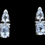 14K White Gold, Sapphire, & Diamond pierced post Earrings 2.5 grams