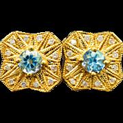 14K Yellow Gold 0.72cttw Genuine Topaz, & Diamond Earrings 2.9g