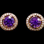 14k Rose Gold 1.74cttw Genuine Amethyst & Diamond Earrings 3g