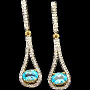 14k Yellow Gold, 1.75cttw Genuine Topaz & Diamond Earrings 3g
