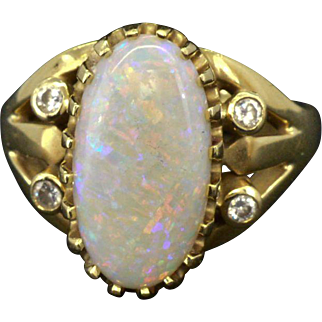 14K Yellow Gold & Genuine Opal 3.44ct and Diamonds 0.16cttw Ring - Rare Chinese Writings
