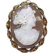 Antique 10K Yellow Gold Victorian Lady Shell & Seed Pearl Cameo Brooch Pin Pendant 9g