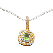 14K Yellow Gold, Genuine Peridots & Diamonds Pendant 1.4g