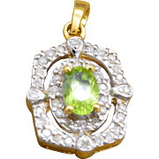 14K Yellow Gold, Genuine Peridot & Diamond Pendant 2.1g
