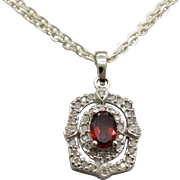14K White Gold, Genuine Garnet & Diamonds Pendant 2.1g