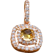 14K Rose Gold, Genuine Citrine & Diamonds Pendant 2.1g