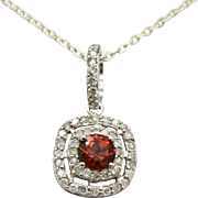 14 Karat White Gold, Genuine Garnet & Diamonds Pendant 1.4g