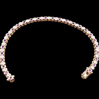 14K Rose Gold, Genuine Rubies, & Diamonds Bracelet 8.1 grams, 3.5 cttw