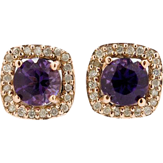 14K Rose Gold, Amethyst, & Diamond Earrings 3.2 grams, 1.83cttw