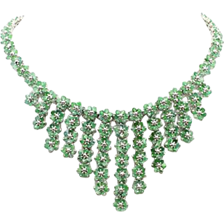 "Sterling Silver & Genuine Emeralds 18"" Necklace, 44cttw, 89g"