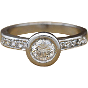 Platinum & Genuine Diamonds Engagement Ring 0.85cttw 5.5g