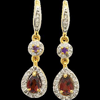 14K Yellow Gold, Garnet, Amethyst, Diamond earrings 3.5 grams