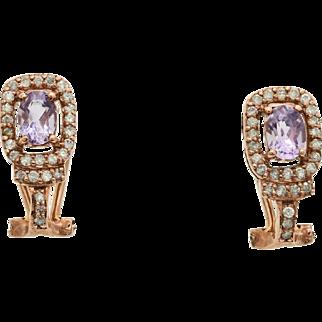 14K Rose Gold, Genuine Amethyst & Diamond Earrings 2.33cttw 3.4g