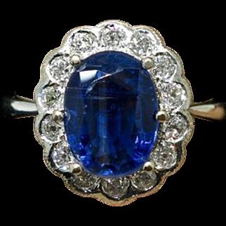 $1,799 14K White Gold 3.32ctw Genuine Sapphire/Diamonds Ladies Ring 4.8g Sz 6.25