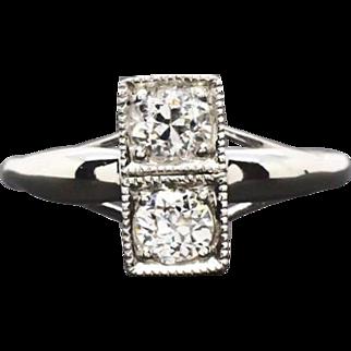 Vintage Platinum .75ctw F-VS2 Euro Cut Genuine Diamond Engagement Wedding Ring