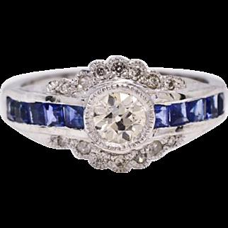 $5,950 1920's Platinum 1.70ctw H-SI1 European Cut Diamond & Sapphire Ring 5.9g