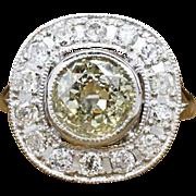 Solid Platinum 2.45ct K/L-SI1 Old Mine Cut Diamond Engagement Halo Ring 9.1g