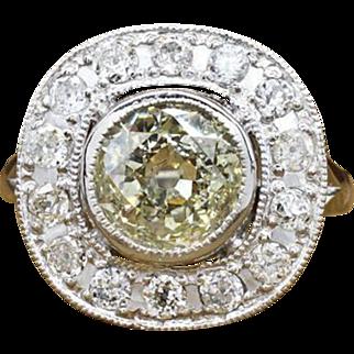 $23999 Antique Platinum 2.45ct K/L-SI1 Old Mine Cut Diamond Engagement Ring 9.1g