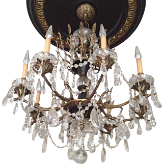 8 Arm, Neo Classical, Crystal Chandelier   1915 - 1930