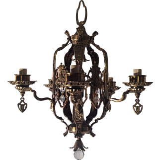 Bronze Chandelier, Art Nouveau