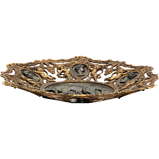 1880 Neo Classical Grecian Style Bronze Platter with Medallion