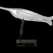 Signed Daum Nancy Heavy Glass Bird on Marble Stand