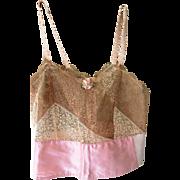 Antique 1920s Bra Camisole Cover Lace Boudoir Lingerie Nature's Rival Brand USA - MINT