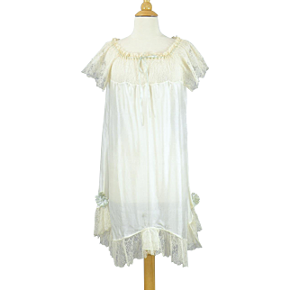 Edwardian 1920s Step In Lingerie, Ivory Silk and Lace Antique Bridal Slip Nightie with Robin's Egg Blue Silk Ribbon Flowers, L - XL