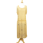 Vintage 1920s Beaded Flapper Dress, Art Deco 20s Silk Chiffon Dress