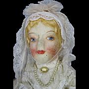 1920s 30s Gluckin Molded Cloth Face Boudoir Doll Bed Doll, Bridal Doll