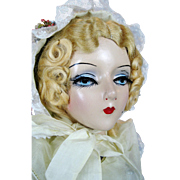Vintage 1930s Sterling Boudoir Bed Doll Mary Pickford Face Doll