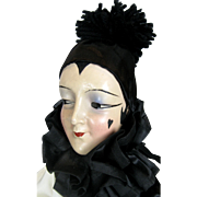 Vintage 1920s Pierrot Type Anita Bed Doll Boudoir Doll, Unusual Art Deco Clown Outfit, Flapper Doll