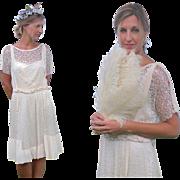 Edwardian 1920s Silk and Lace Bohemian Dress, 20s Flapper Dress, Braided Gypsy Dress