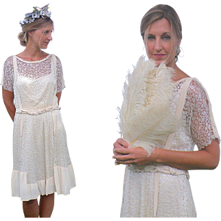 Edwardian 1920s Silk and Lace Bohemian Dress, 20s Flapper Dress, Braided Gypsy Dress