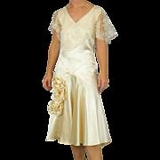 Vintage 1920s Satin Lace Flapper Wedding Dress, Original Portrait Photo & Netting