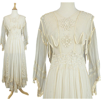 Antique Edwardian Embroidered Net Lace Wedding Dress, Bohemian Gypsy Dress, Williamson Builder of Gowns