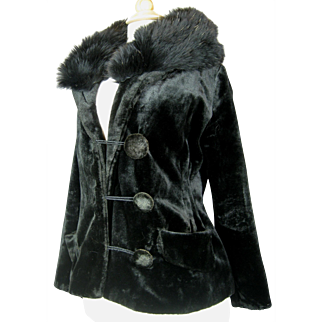 Antique Black Velvet Ladies Coat Jacket with Fur Collar