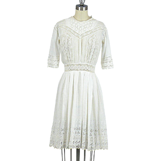 1910s Edwardian White Cotton Eyelet Tea Dress