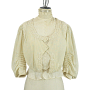 Antique 1900s Edwardian Printed Cotton and Lace Blouse, Gibson Girl Ladies' Bodice