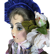 """Vintage 1930s Sterling Bed Doll Boudoir Doll ~ """"Real"""" Eyelashes!"""