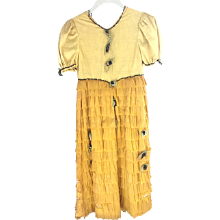 Rare 1920s Crepe Paper Dress ~ Teen, Tinsel Trim