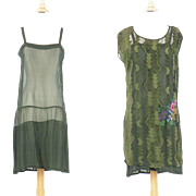 1920s Beaded Burnout Velvet Flapper Dress, Vintage 20s Gatsby Dress