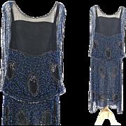 1920s Beaded Flapper Dress, Art Deco, Vintage 20s Great Gatsby Dress, Silk Jazz Age Party Dress