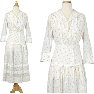 Edwardian Dress, White Cotton Lace Dress with Red Linked Rings, Antique Tea Dress, 1900s 1910s, Unity Dress