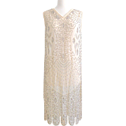 Vintage 1920s Ivory Silk Beaded Art Deco Flapper Wedding Dress