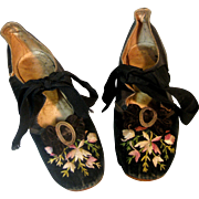 Mid 1800's Antique Embroidered Kid Leather & Velvet Kitten Heel Shoes ~Original Silk Ribbon Ties