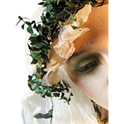 Vintage 1920s Wedding Bridal Juliet Cap Veil with Green Foliage, Flower Buds and Bronze Metallic Tendrils, 20s Bohemian Bride