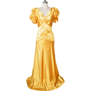 Vintage 1930s 40s Gold Rayon Celanese Evening Dress