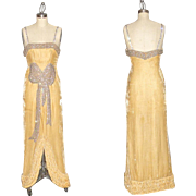 1920s Beaded Silk Velvet Art Deco Dress with Tufted Hem, Old Hollywood Starlet 20s Evening Gown