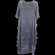 Vintage 1920s Beaded Flapper Dress, Plus Size 20s Dress, Art Deco Great Gatsby Roaring 20s Dress